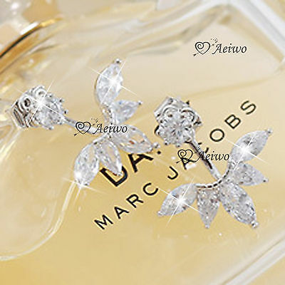 18K Yellow White Rose Gold 925 Silver Made With Swarovski Crystal Earrings Stud