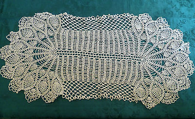Stunning Vintage Hand Crocheted Cream Table Centre Large 75Cm X 32Cm