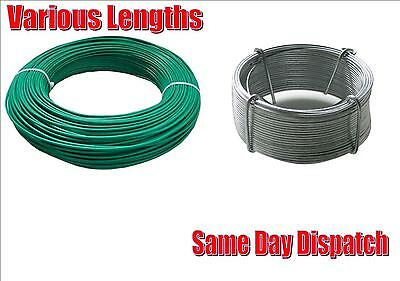 Heavy Duty Garden Wire Galvanised Or Green Pvc Fencing Outdoor Various Lengths