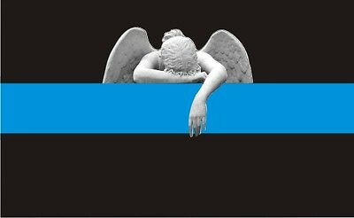 Thin Blue Line Angel Crying Police Officer Decal / Sticker #198 Made in USA