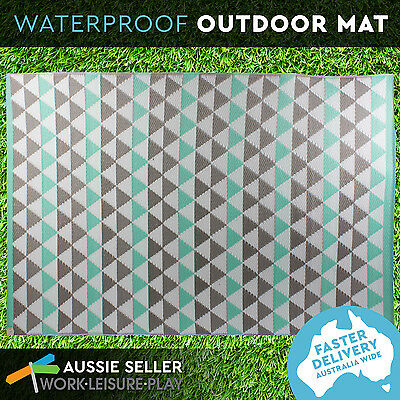 Mat Rug Plastic Outdoor Camping Picnic Woven Waterproof Teal 120x180cm