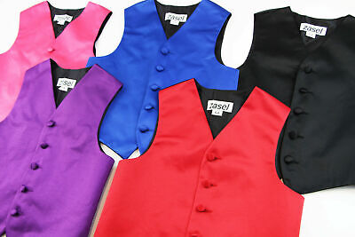Boys Waistcoat Wedding Tuxedo Pageboy Costume Black Red Blue Purple Pink Vest