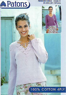 """Patons 3054 Vintage Ladies Sweater Knitting Pattern 32-42"""" Reformatted 4 ply"""