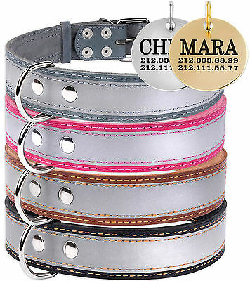 Reflective Dog Collar Leather Personalized ID Tag for Dogs Optional Black Brown