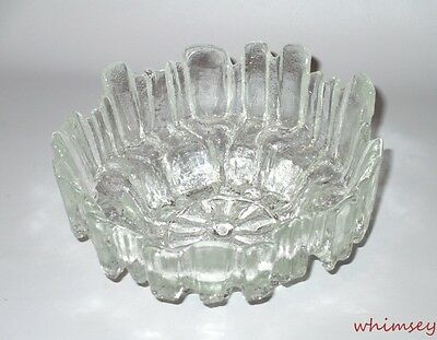 Scandinavian Style Textured Bowl Clear Glass Carved Ice