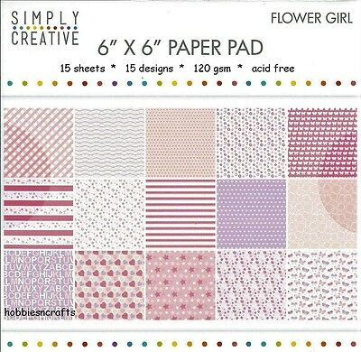 Simply Creative Flower Girl Papers 6 X 6 Sample Pack  - 120 Gsm - 15 Sheets