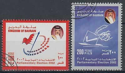 Bahrain 2002 used Mi.742/43 Flagge Flag Wahlen Elections Parlament [g2133]