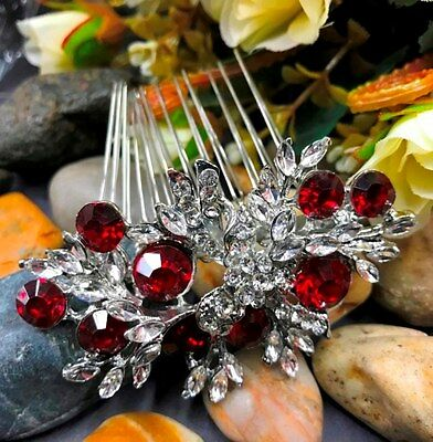Beautiful elegant wedding red color crystal rhinestone bridal hair comb ha24red