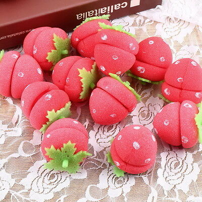 New 12pcs Foam Strawberry Balls Soft Sponge Hair Curlers Rollers Bun Round WK
