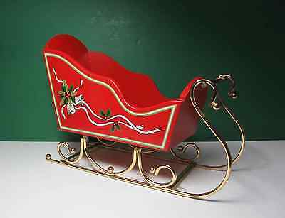 """Wood Sleigh w Brass Runners 12"""" Red Paint Christmas Holiday Decor"""