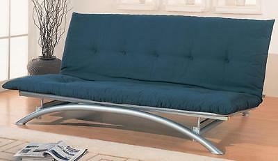 Contemporary Silver Finish Metal Futon Frame by Coaster 300008