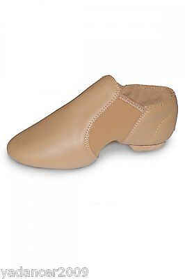Roch Valley Leather Slip On Jazz Dance Shoes Neoprene Arches Split Rubber Sole