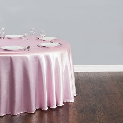 """15 PACKS 132"""" inch Round SATIN Tablecloth WEDDING 25 COLOR 6' Ft table USA SALE"""