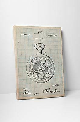 Pocket Watch Patent Print Gallery Wrapped Canvas Wall Art. BONUS WALL DECAL!