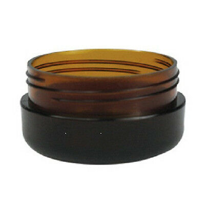 40 x 10g Amber Plastic Lip Balm Small Sample Cosmetic Jars Container + Black Cap