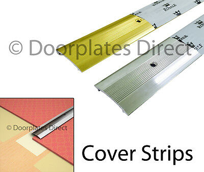 Carpet Cover Strip - Door Bar Trim - Silver or Brass - Threshold Metal