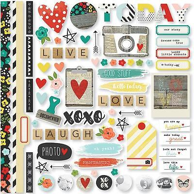 Simple Stories  Life In Color 12 x 12 Fundamentals Cardstock Stickers