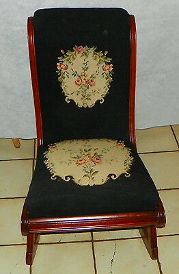 Solid Cherry Needlepoint Sewing Rocker / Rocking Chair  (R204)