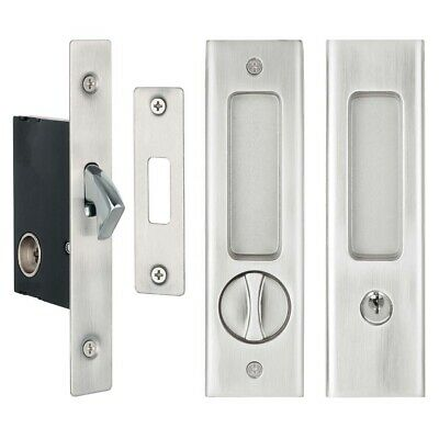 Delf Cavity Sliding Door Lock Set 70178SN Square Edge Satin Nickel