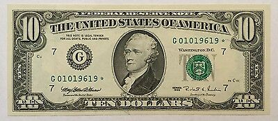 1995 $10 Ten Dollars Chicago * Star * Frn, Uncirculated Banknote