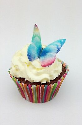 60 x Mini Bright Rainbow Butterfly Edible Cupcake Toppers Cake Decorations Wafer