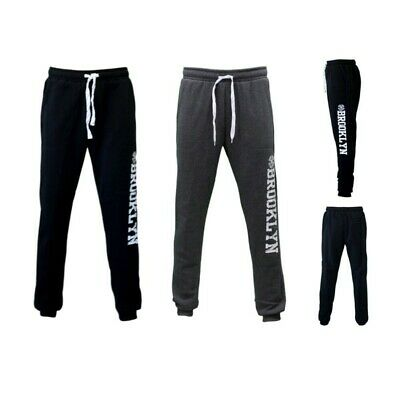 Men's Skinny Track Pants w Fleece Slim Cuff Trackies Slacks Tracksuit - Brooklyn