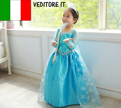 Vestito Frozen Carnevale Costume Dress Bambina Elsa Bimba Travestimento New 808