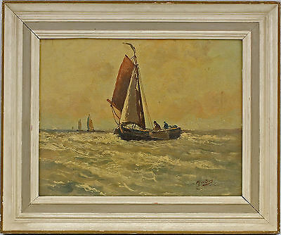 Oil painting sign With van the Berg Sailing boat on high Lake 7560089
