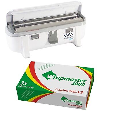 "Wrapmaster Dispenser 3000 12"" & 3 Rolls of Clingfilm 30cm x 300m each roll"