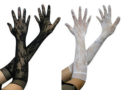 Sexy Long Floral Lace Gloves Opera Fancy Dress Evening Party Wedding Bridal