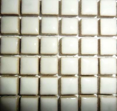 81 Mini Glazed Ceramic Mosaic Tiles 10mm - White