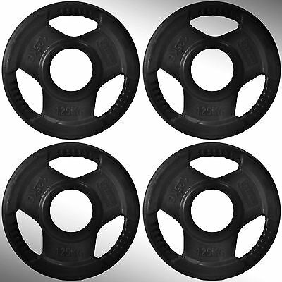 "Cast Iron Tri Grip Weight Plates 4 x 1.25kg in Rubber Cover fit 2"" Olympic Bars"