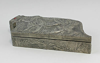 Figural Can with Tin jacket Tiger in Savannah landscape Handmade 7538016