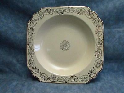 """Eggshell by Homer Laughlin Gold Floral and Trim 7-7/8"""" Square Salad Bowl  L60"""