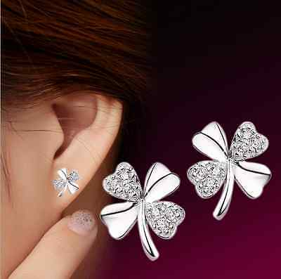 925 Sterling Silver Earrings Women's Clover Crystal Ear Stud Fashion Jewelry