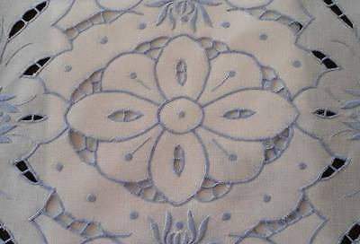 Vintage Set Blue Embroidered Placemats Table Runner Set Cutwork Flowers VGC