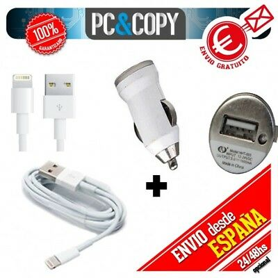 Cargador mechero coche 1A + cable USB blanco para iPhone 5 5S 6 iPad Air Mini