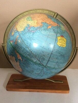 "Vintage Cram's Imperial World Map Globe 12"" Round On Wood Base"