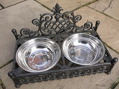 SHABBY CHIC STYLE ANTIQUE CAST IRON Pet DOG CAT BOWL DISH SET 2 STEEL BOWLS new