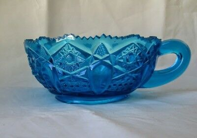Teal Turquoise Cut Depression Glass L.E. SMITH QUINTEC Handled Nappy Bowl/ Dish