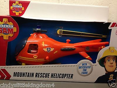 New Fireman Sam Mountain Rescue Helicopter & Tom articulated figure playset