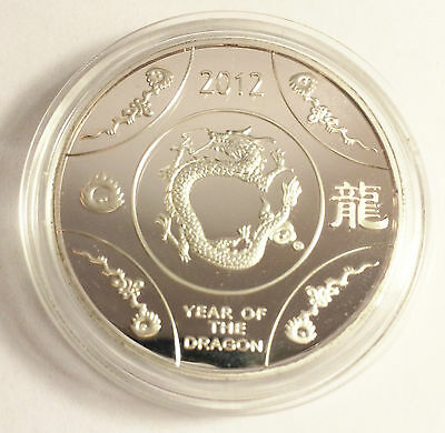 "1 OZ 2012 ""Year Of The Dragon"" Australia Coin Finished with 999 Fine Silver b"