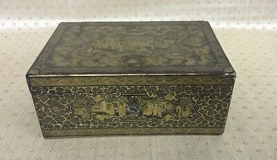 19th C. CHINESE EXPORT GILT-LACQUERED TEA CADDY WITH HINGED COVER