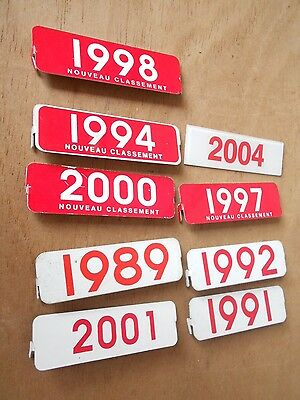 Lot of 9 numbered vintage french metal PLAQUES in red and white