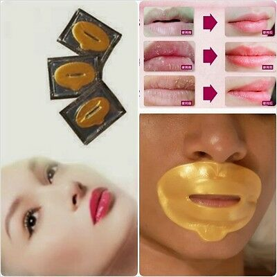 3 x Gold Collagen Lip Mask 24K Crystal Moisturising Anti Ageing Bigger Full Lips