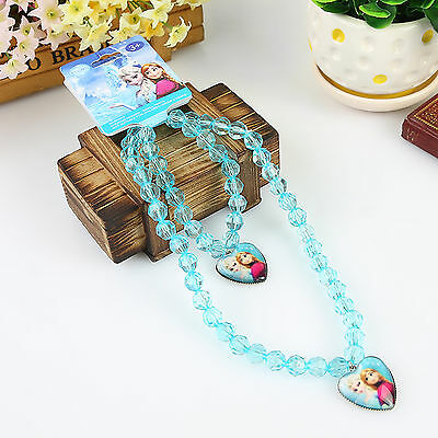 Kids Child Girl Frozen Elsa Anna Necklace +wrist bracelet Birthday Easter Gift