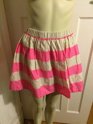 Girls H&m Candy Hot Pink Beige Stripe Skater Cute Trendy Skirt Age 11-12 Years