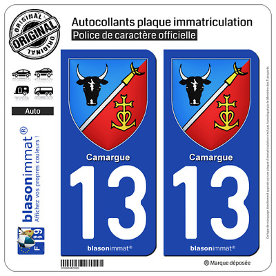 2 Sticker plaque immatriculation auto | 13 Camargue -  Armoiries