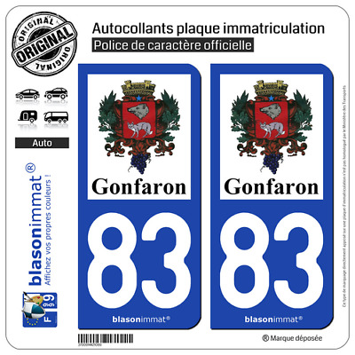 2 Stickers autocollant plaque immatriculation | 83 Gonfaron - Commune | 83590