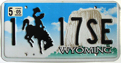 Wyoming DEVILS TOWER Embossed License Plate - BRONCO HORSE COWBOY WY
